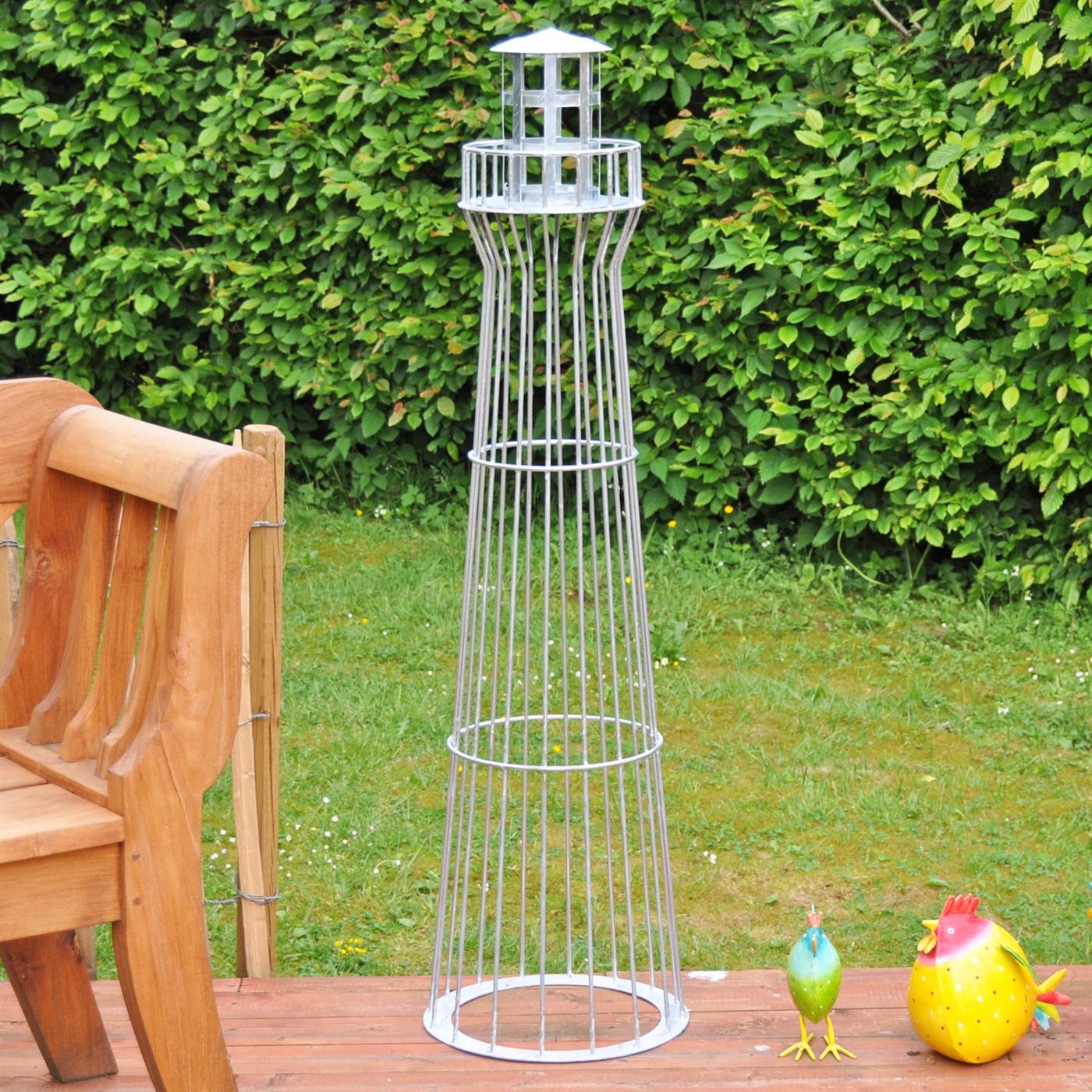 Leuchtturm 135cm verzinkt leuchtfeuer gartenbeleuchtung for Leuchtturm deko garten
