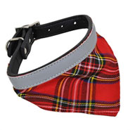 Reflektor-Hundehalsband mit Halstuch, karriert