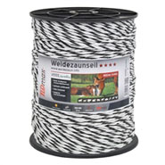 Weidezaunseil 400m, 6x0,25 TLD, PE-Monofile, weiss-schwarz