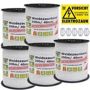5x VOSS.farming Weidezaunband 200 m, 40 mm, 9x0,16 Niro, weiß (inkl. 5 Verbinder & Warnschild)