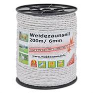 5x Seil 200m, 6mm, 7x0,20 Niro, inkl. 5 Verbinder & Warnschild