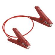 Zaunverbindungskabel mit 2 robusten Krokoklemmen, 60cm, rot