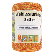 Weidezaun Litze 250m, 3x0,16 Niro, gelb-orange 1*