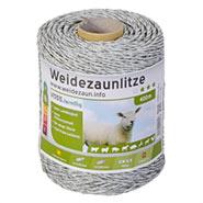 Weidezaun-Litze 400m, 1x0,20 Kupfer + 3x0,20 Niro, weiss-grün