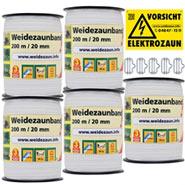 5x Weidezaun-Band 200m, 20mm, 4x0,16 Niro, weiß 1*