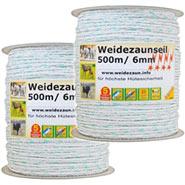2x Weidezaunseil 500m 6mm, 3x 0,3 Cu+0,3 Niro, inkl. Verbinder