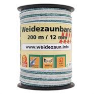 Weidezaun Band 200m, 12mm, 1x0,3 Kupfer +3x0,3 Niro, weiß-grün 4****