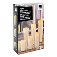 6er Set LED Echtwachskerzen