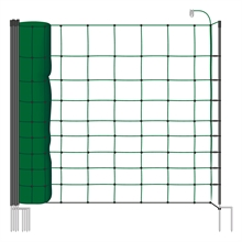 VOSS.farming farmNET 50 meter, 108cm, groen, 14 palen met dubbele punt, schrikdraadnet, schapennet, pluimveenet