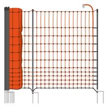 VOSS.farming farmNET+ schrikdraadnet, 50 meter, 112cm, oranje, 20 opstelpalen met dubbele punt, pluimveenet, schapennet