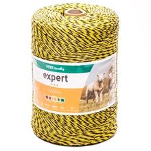 VOSS.farming schrikdraad 1000 meter, geel/zwarte draad met 2x 0,25 RVS en 1x 0,25 koper geleiders