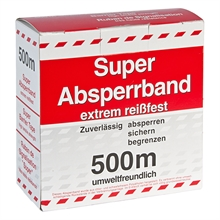 500 meter afzetband, afzetlint, rood/wit