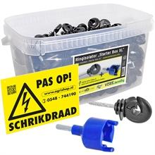 260x VOSS.farming XL box schrikdraad ringisolator met doorlopende kern, inclusief inschroefhulp en waarschuwingsbordje