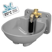 Lister SB22H verwarmde drinkbak 33W 230V, verwarmbare grijze kunststof drinkbak met staafventiel