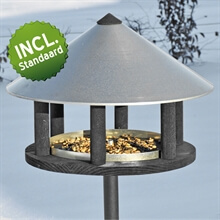 Vogelvoederhuis Odensee, exclusief staand Deens design voederstation met opstelvoet (135cm) voor vogels 28x40cm