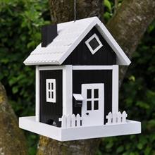 Nestkastje Skagen Zwart, exclusief hangend Deens traditioneel vogelhuisje voor het voederen van vogels
