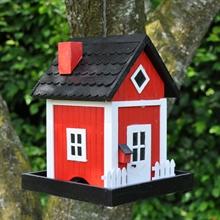 Nestkastje Skagen Rood, exclusief hangend Deens traditioneel vogelhuisje voor het voederen van vogels