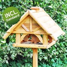 Vogelvoederhuis VOSS.garden Finkenheim, houten voederstation met opstelvoet voor tuinvogels