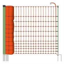 VOSS.farming Euronetz schrikdraadnet 50 meter, oranje 112cm pluimveenet, afrasteringsnet met witte opstelpalen met dubbele metalenpunt