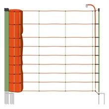 VOSS.farming schrikdraadnet 50 meter, oranje 90cm schapennet, afrasteringsnet met gele opstelpalen met dubbele metalenpunt