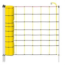 VOSS.farming Euronetz schrikdraadnet 50 meter, geel zwart 90cm schapennet, afrasteringsnet met witte opstelpalen met 1 metalenpunt