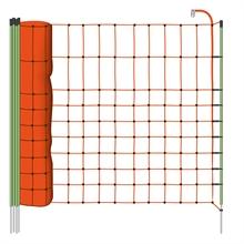 VOSS.farming schrikdraadnet 50 meter, oranje 65cm kleindiernet, afrasteringsnet met witte opstelpalen met 1 metalenpunt
