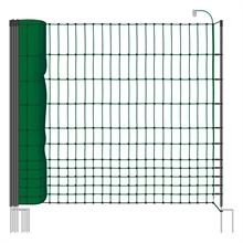 VOSS.farming schrikdraadnet 50 meter, groen 112cm pluimveenet met zwarte opstelpaal met dubbele metalenpunt