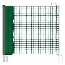 VOSS.miniPET schrikdraadnet 25 meter, groen 110cm hondennet, afrasteringsnet met groene opstelpalen met dubbele metalenpunt