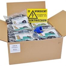 500x VOSS.farming ringisolator met doorlopende kern, inclusief inschroefhulp en waarschuwingsbordje