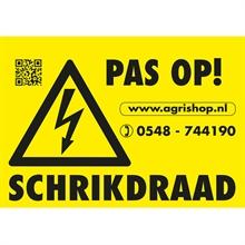 """Waarschuwingsbordje """"PAS OP SCHRIKDRAAD"""""""
