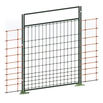 Tür für Elektrozaunnetze, elektrifizierbar, Komplettset, 125cm