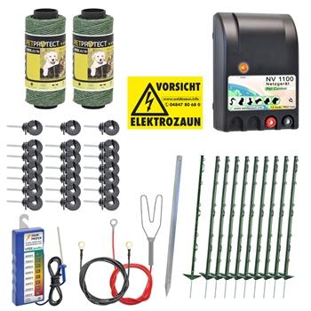 VOSS.farming Elektrozaun Komplettset Hunde-Katzenzaun 230V / grün / mit  Netzgerät NV1100