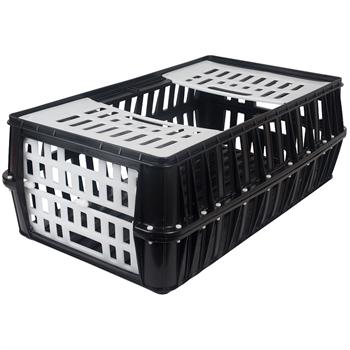 Transportkist voor pluimvee en vogels, stapelbaar zwart kunststof