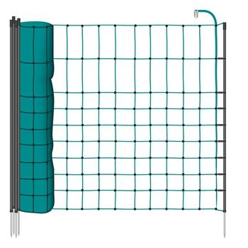 VOSS.farming schrikdraadnet 12 meter, groen 65cm kleindiernet, afrasteringsnet met zwarte opstelpalen met 1 metalenpunt