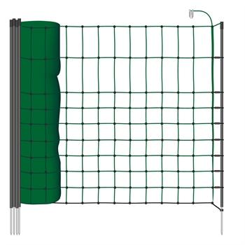 VOSS.PET schrikdraadnet 50 meter, donker groen 65 cm kleindiernet, afrasteringsnet met zwarte opstelpalen met 1 metalenpunt