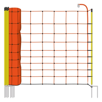 VOSS.farming schrikdraadnet 50 meter, oranje 108cm afrasteringsnet met gele opstelpaal met dubbele metalenpunt