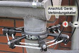 An den Leitern wird das Weidezaungerät angeschlossen bzw. die Verbindung zu den Dachrinnenleitern hergestellt.