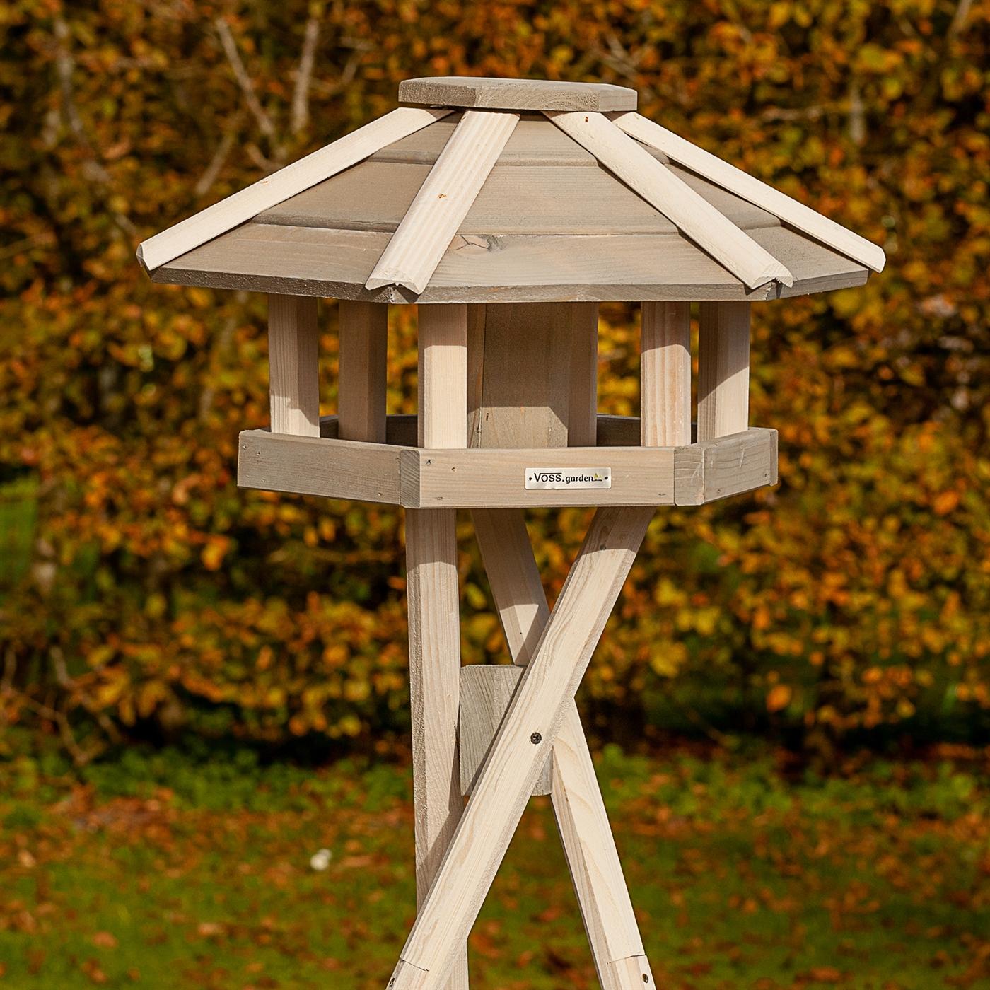 Vogelhaus VOSS.garden Valbo Kreuzstandfuß Vogelfutterhaus Holz weiß