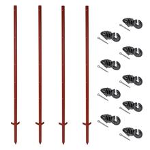 VOSS.farming Set: 20x Winkelstahlpfähle 165cm + 100x Ringisolatoren mit Splint