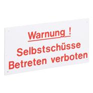 """Warnschild """"Vorsicht Selbstschüsse"""""""