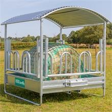 VOSS.farming Heuraufe 2 x 2m mit Dach und Palisadenfressgitter + GRATIS Futtersparnetz + Rahmen