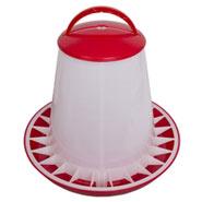 Geflügelfutterautomat 10kg mit Deckel,PP(rot/weiss)