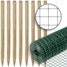 VOSS.farming Zaunset, Gartenzaun-SET: Volierendraht 10mx100cm, grün + 8x Holzpfähle