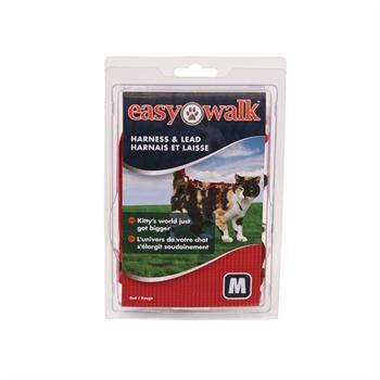 Easy Walk - Katzengeschirr mit Bungee-Leine, Medium, rot