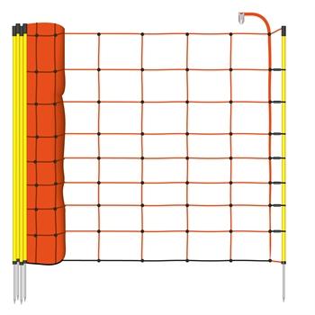 50m Elektrozaun-Netz, Schafzaun, 90cm, 1 Spitze, orange Litze