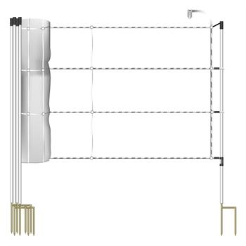 30,5 m VOSS.farming Pferdenetz 120 cm, 3x0,2 Niro, Jumbo Standpfähle 2 Spitzen, weiß