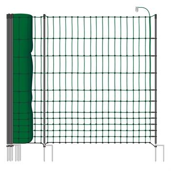 """50m Geflügelnetz, 112cm, 2 Spitzen, """"grün"""", inkl. 20 Pfähle, 2 Spitzen Elektronetz"""