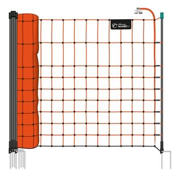 VOSS.farming farmNET 50m Wildschutznetz, Kleintiernetz, 65cm, 15 Pfähle, 2 Spitzen, orange