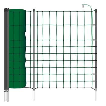 VOSS.farming classic+ 50m Kleintiernetz, Kaninchenzaun, 65cm, 20 Pfähle, 1 Spitze, grün