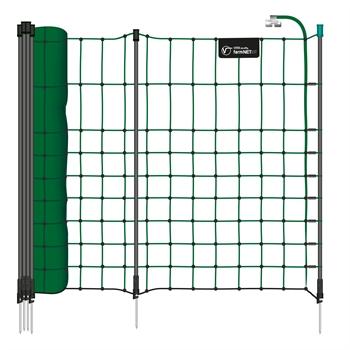VOSS.farming farmNET+ 25m Kleintiernetz, Kaninchenzaun, 65cm, 11 Pfähle, 1 Spitze, grün